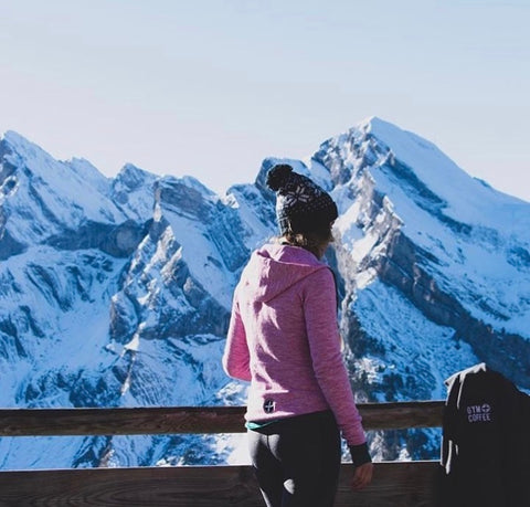 Gym+Coffee Pink Fleck Hoodie on Rebecca Harding Skiing at La Clusaz in Eastern France