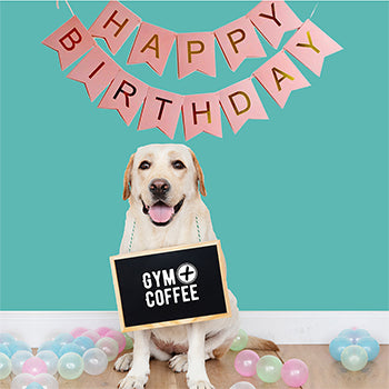 Gym+Coffee Golden Retriever Birthday Dog