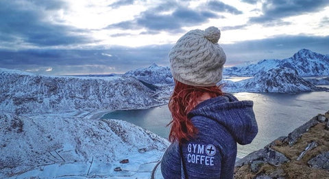 Gym+Coffee Charcoal Fleck Hoodie at Arctic Circle Hooneymoon Hike