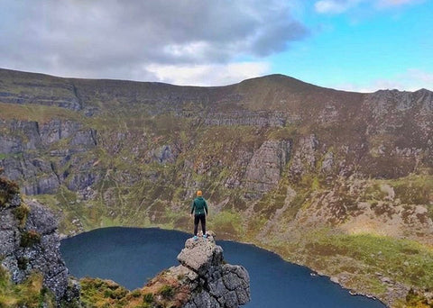 Gym+Coffee Community Member Hikes up to Coumshinguan Lake in the Comeragh Mountains, Waterford in Forest Green Hoodie