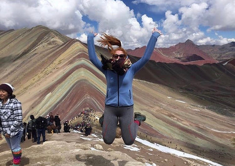 Gym+Coffee Ocean Blue Hoodie at Montaña de Siete Colores in Cuzco, Peru hike
