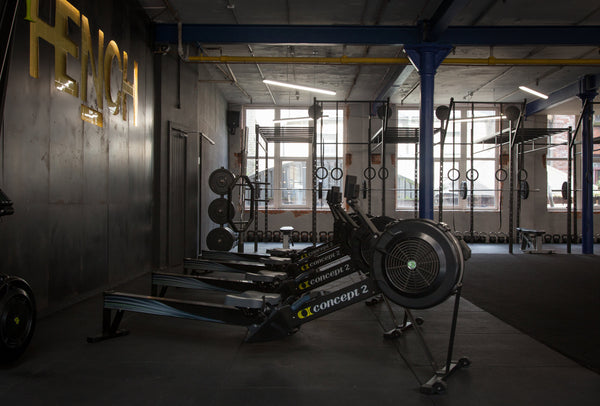 3 rowing machines in the cardio area of Hench gym, Belfast.