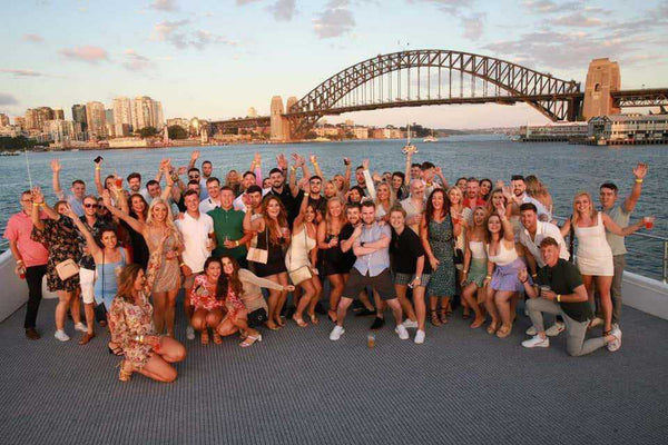 A County Down Under Social Outing in Sydney with Harbour Bridge in the background