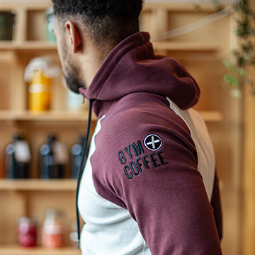 Gym+Coffee Men's Burgundy 2Tone Hoodie