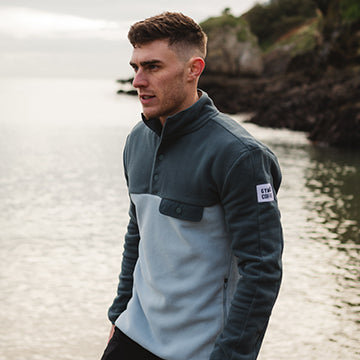 Gym+Coffee New Arrivals Mens Green Sage Fleece on Beach