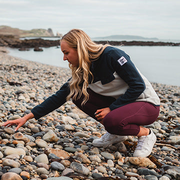 Gym+Coffee New Arrivals Womens Navy Fleece on Beach