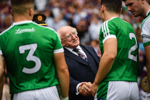 Irish President Michael D. Higgins Meeting Limerick Hurling Team