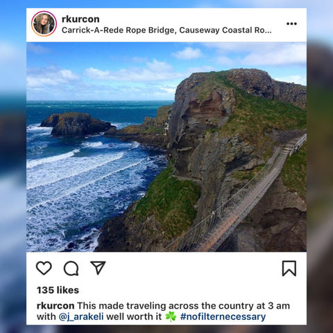 RKURCON Instagram Post at Carrick-A-Rede Rope Bridge Northern Ireland