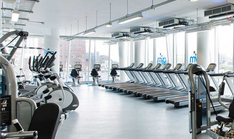 The full range of cardio machines at The Gym Group overlooking Albert Dock in Liverpool