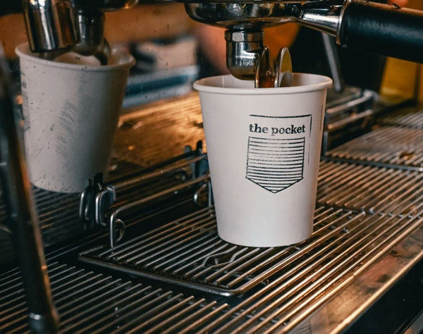 A coffee cup at The Pocket Coffee Shop