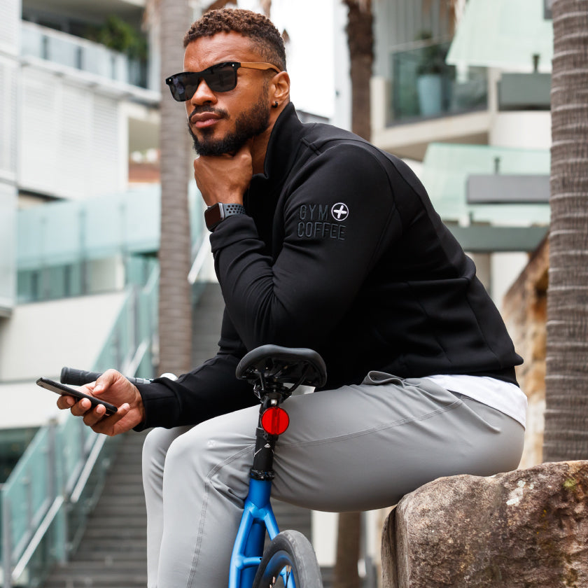 Gym Plus Coffee Shop The Connect Collection New Season Spring Summer Shop Mens Camerino Jacket in black and Home Run grey and white tee