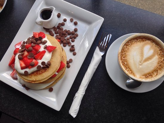 Protein Pancakes and Coffee from The Grind Cafe in Howth, Dublin