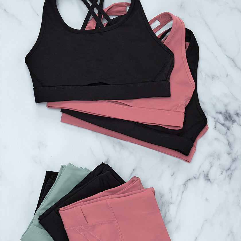 gym plus coffee shop womens swift leggings sports bra black pink and mint green