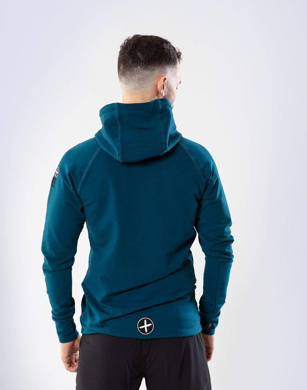Gym Plus Coffee Classic Hoodie Men's Classic Half-Zip Hoodie in Petrol Blue Designed in Ireland