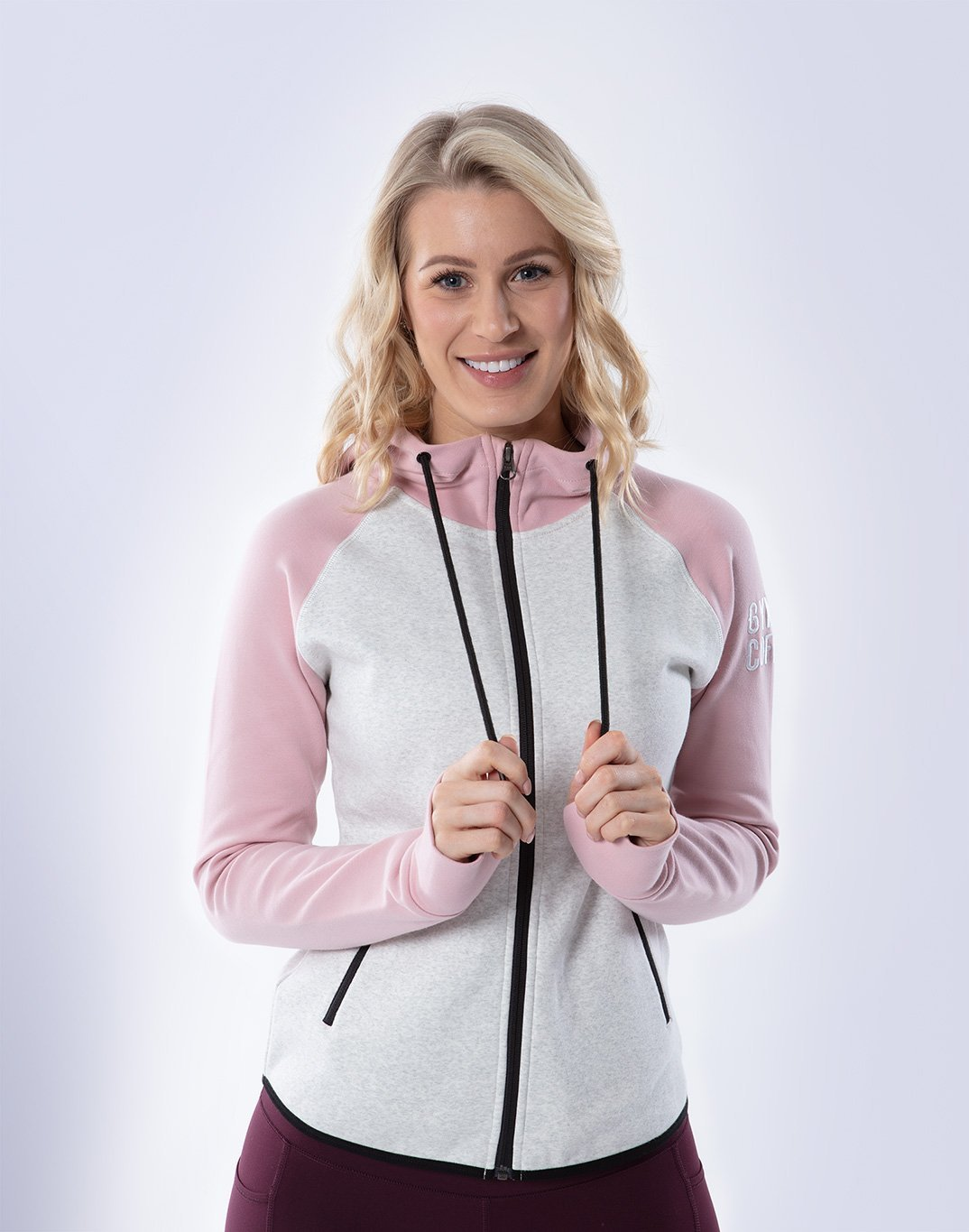 Gym Plus Coffee Hoodie 2tone Chill Hoodie in Dusty Pink/Cream Designed in Ireland