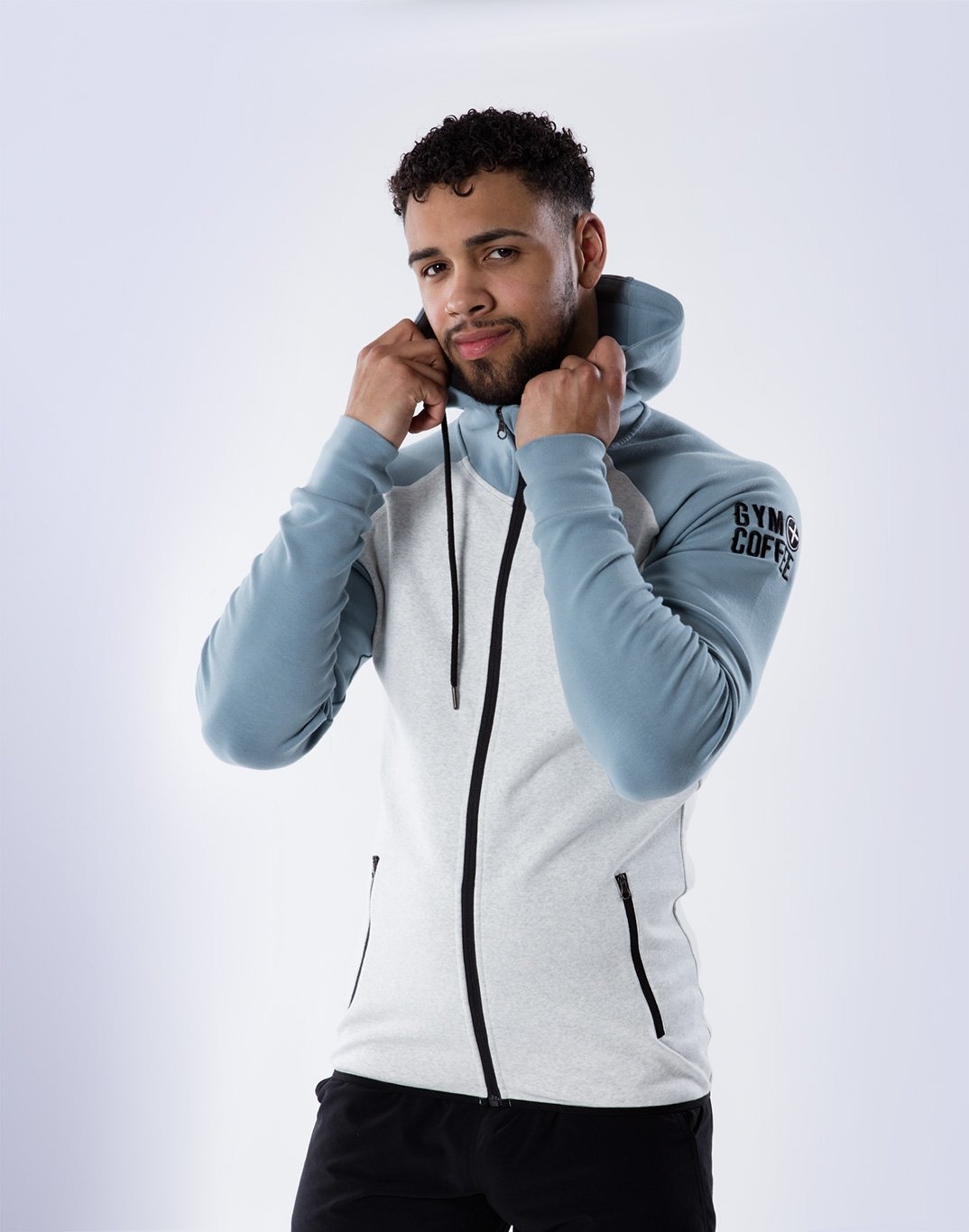 Gym Plus Coffee Hoodie Chill 2Tone Hoodie in Cream/ Steel Blue Designed in Ireland