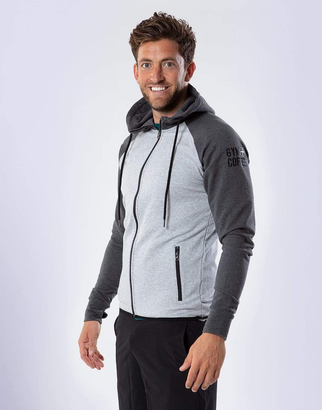 Gym Plus Coffee Hoodie Men's 2Tone Charcoal Grey Hoodie Designed in Ireland