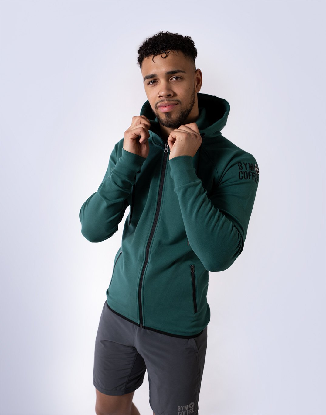 Gym Plus Coffee Hoodie Men's Chill Hoodie in Hunter Green Designed in Ireland