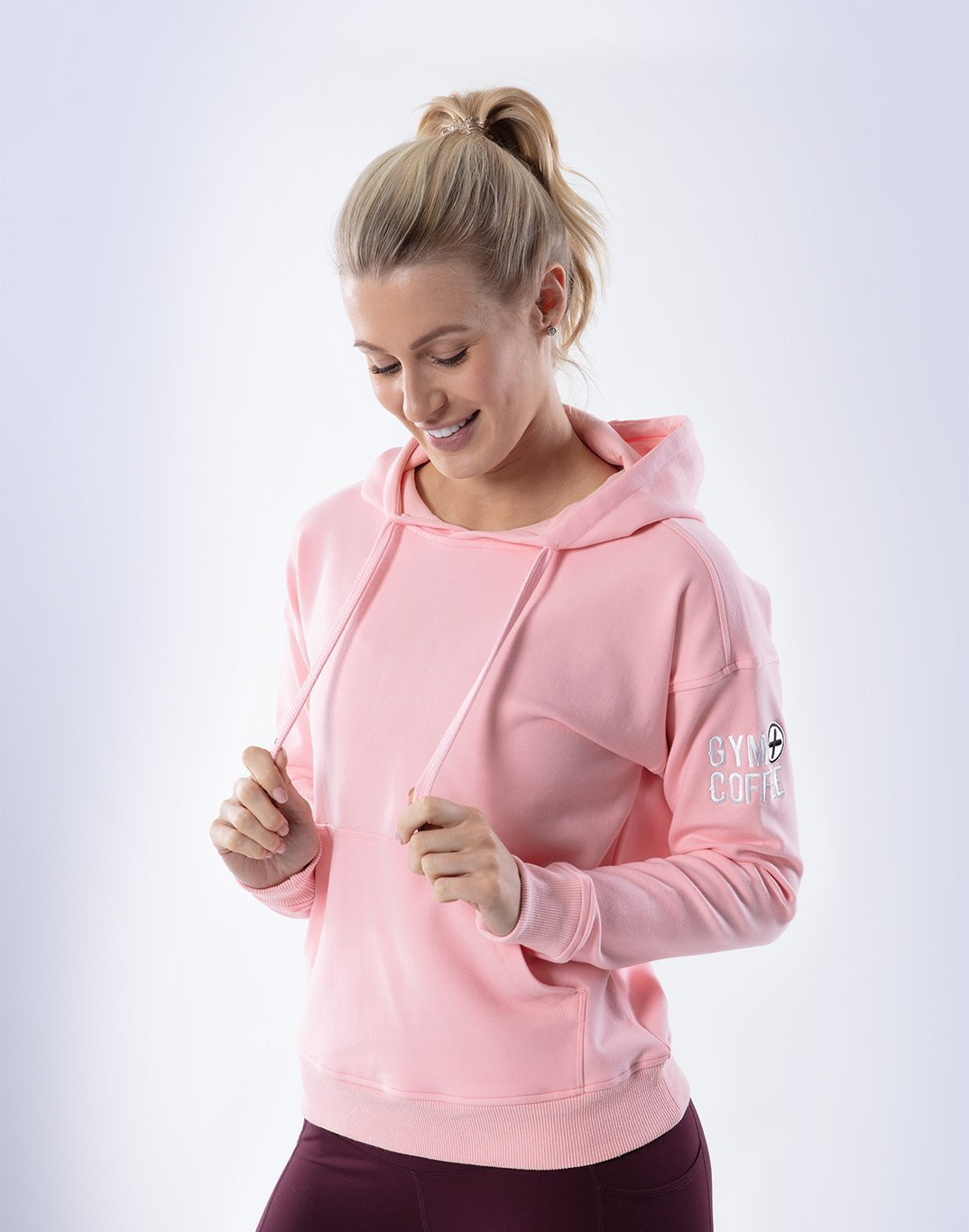 Gym Plus Coffee Hoodie Pullover Hoodie in Baby Pink Designed in Ireland