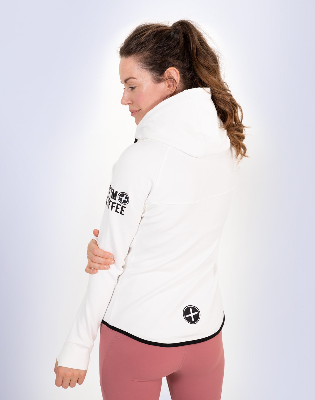 Gym Plus Coffee Hoodie Women's Chill Hoodie in White Designed in Ireland