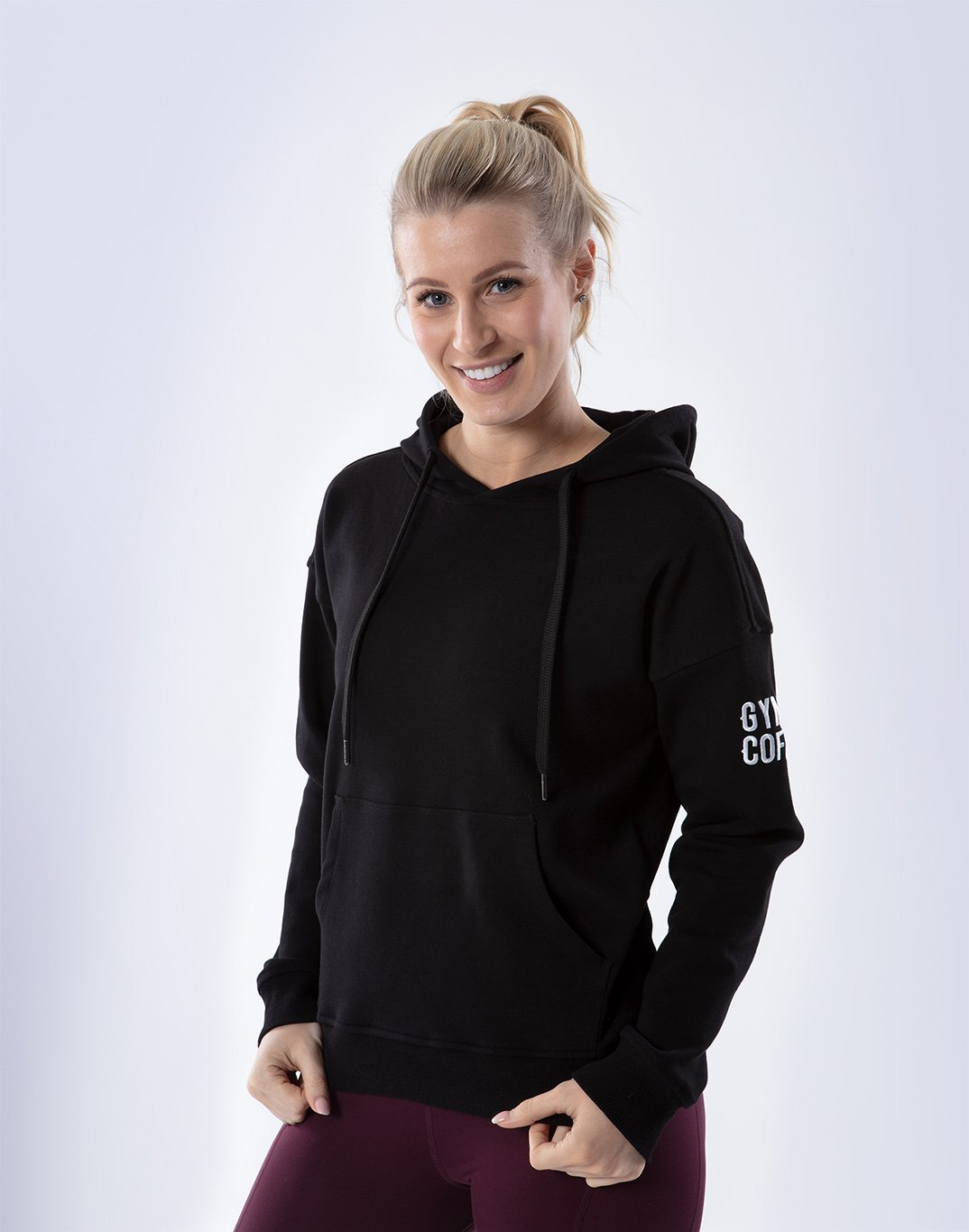 Gym Plus Coffee Hoodie Women's Pullover Hoodie in Black Designed in Ireland
