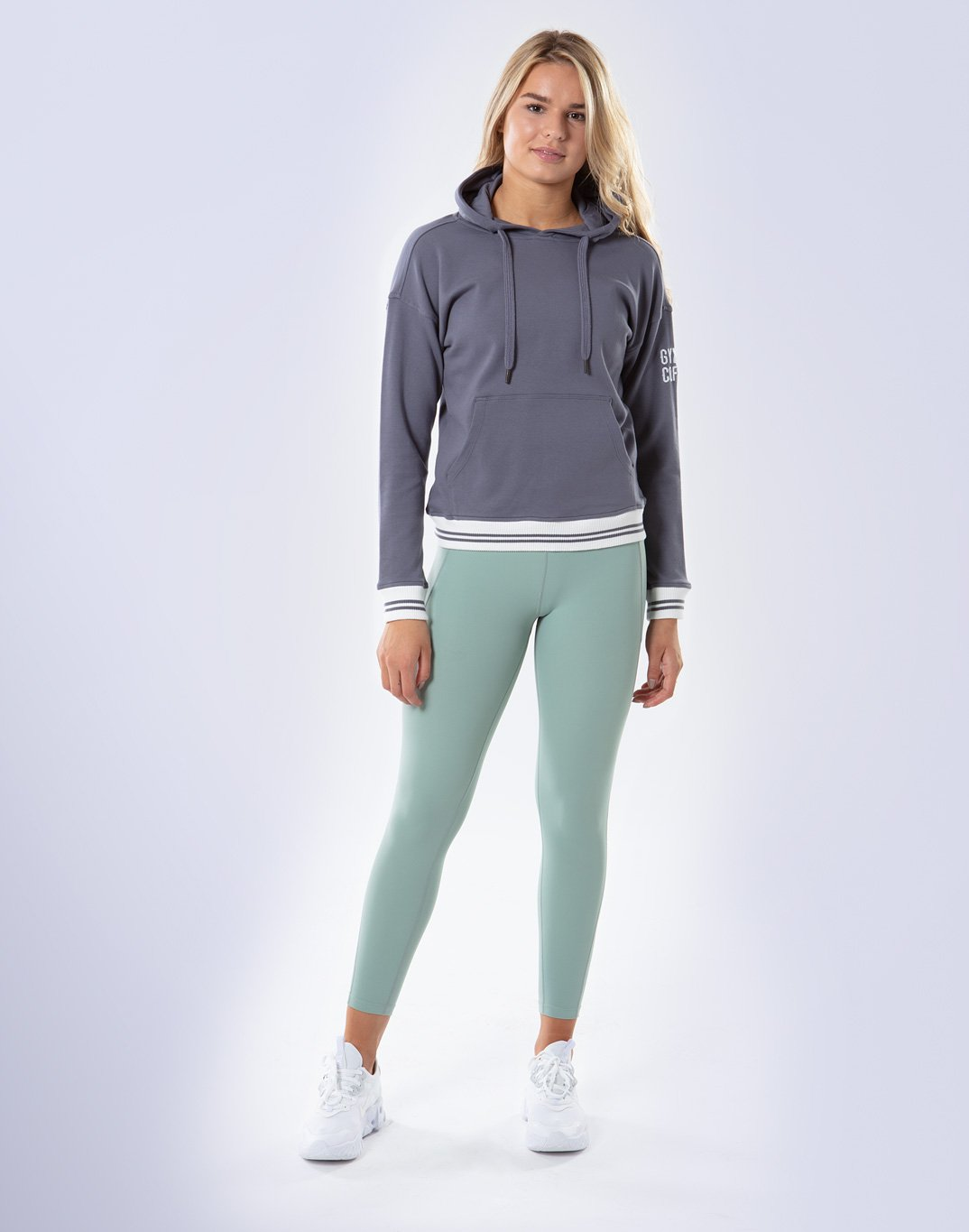 Gym Plus Coffee Hoodie Women's Retro Pullover Hoodie in Stone Blue Designed in Ireland
