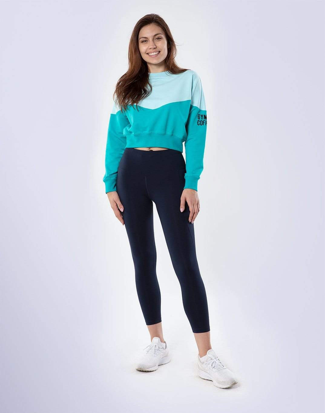 Gym Plus Coffee Hoodie Womens Relaxed Crew in Touquoise Mint Designed in Ireland