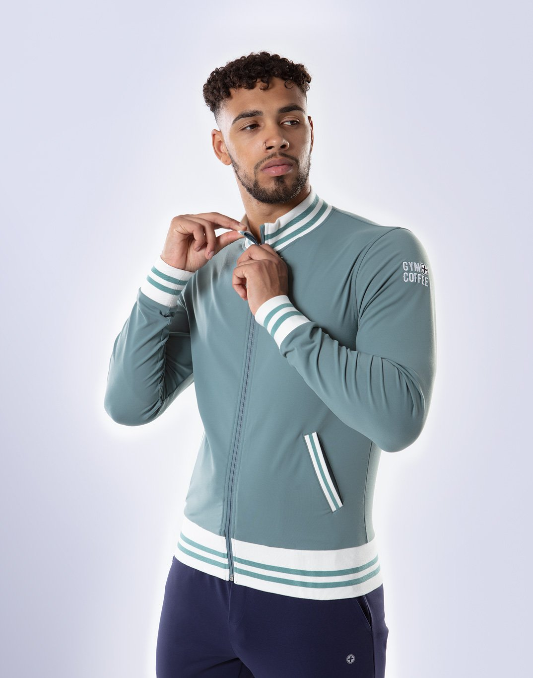 Gym Plus Coffee Jacket Men's Retro FastTrack Jacket in Green Designed in Ireland