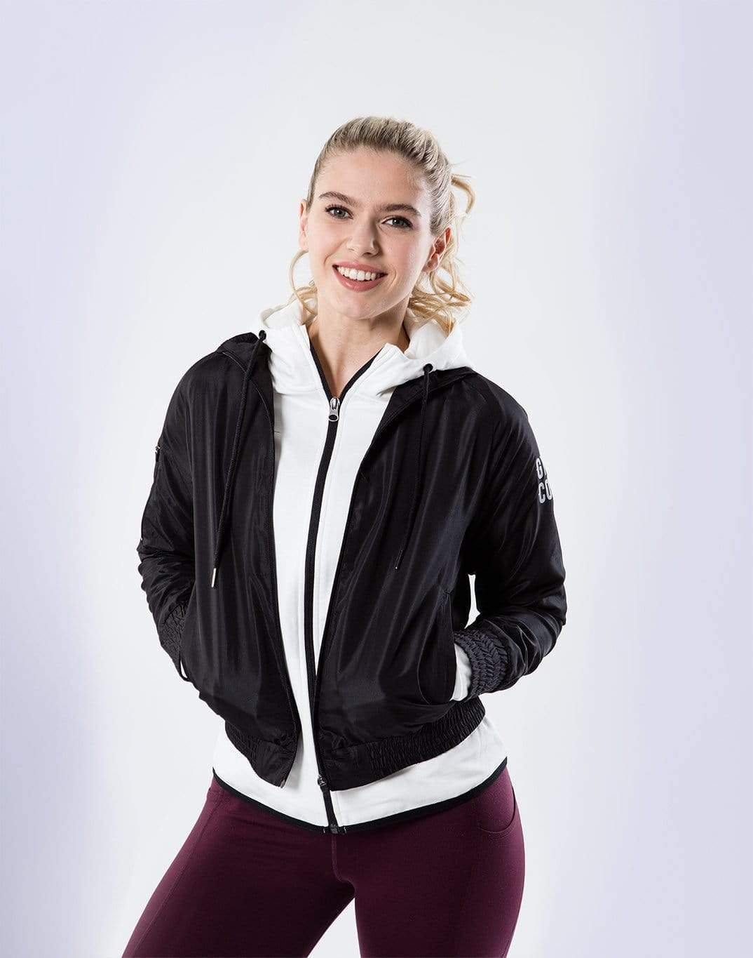 Gym Plus Coffee Jacket Shell Crop Jacket in Black Designed in Ireland