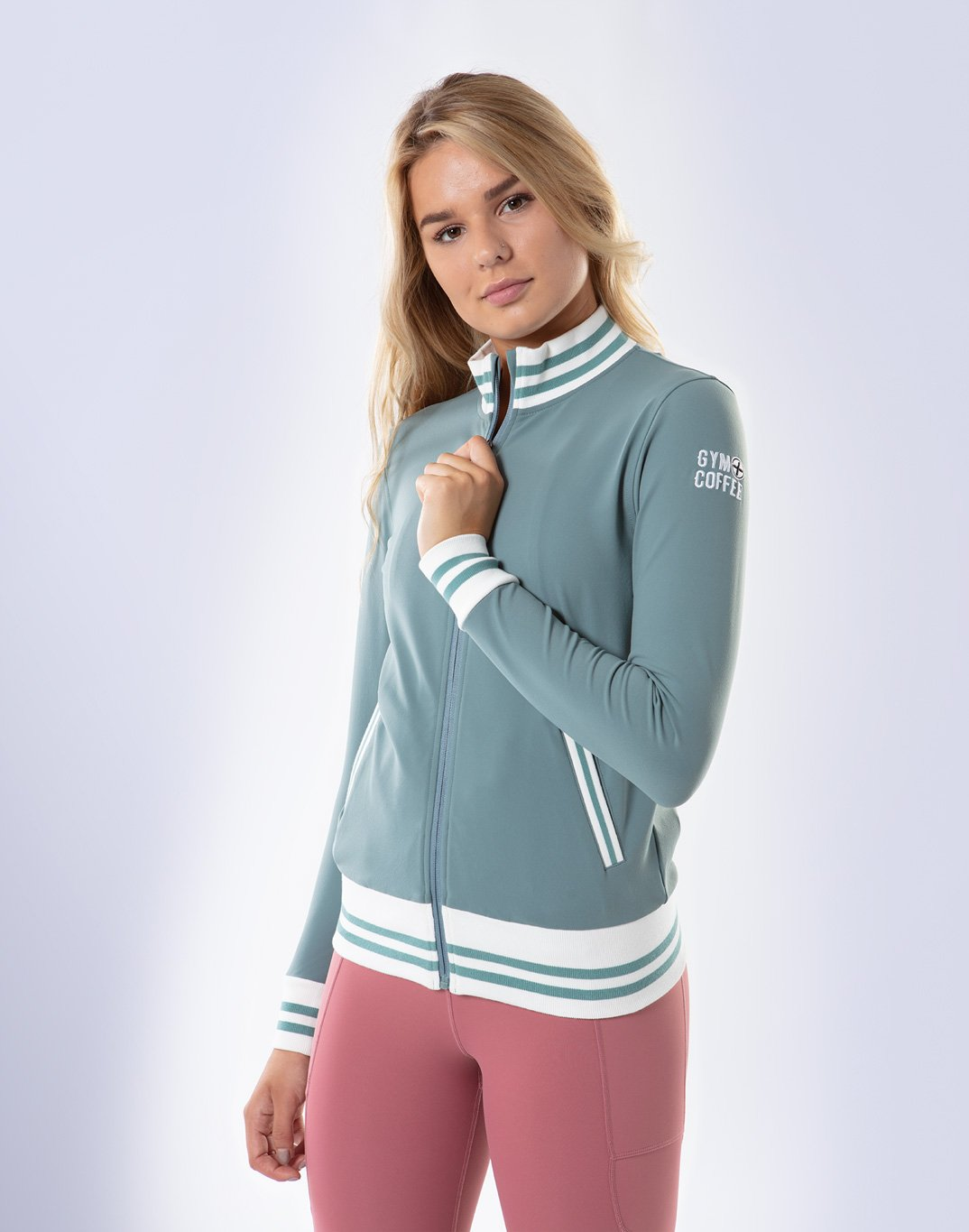 Gym Plus Coffee Jacket Women's Retro FastTrack Jacket in Green Designed in Ireland