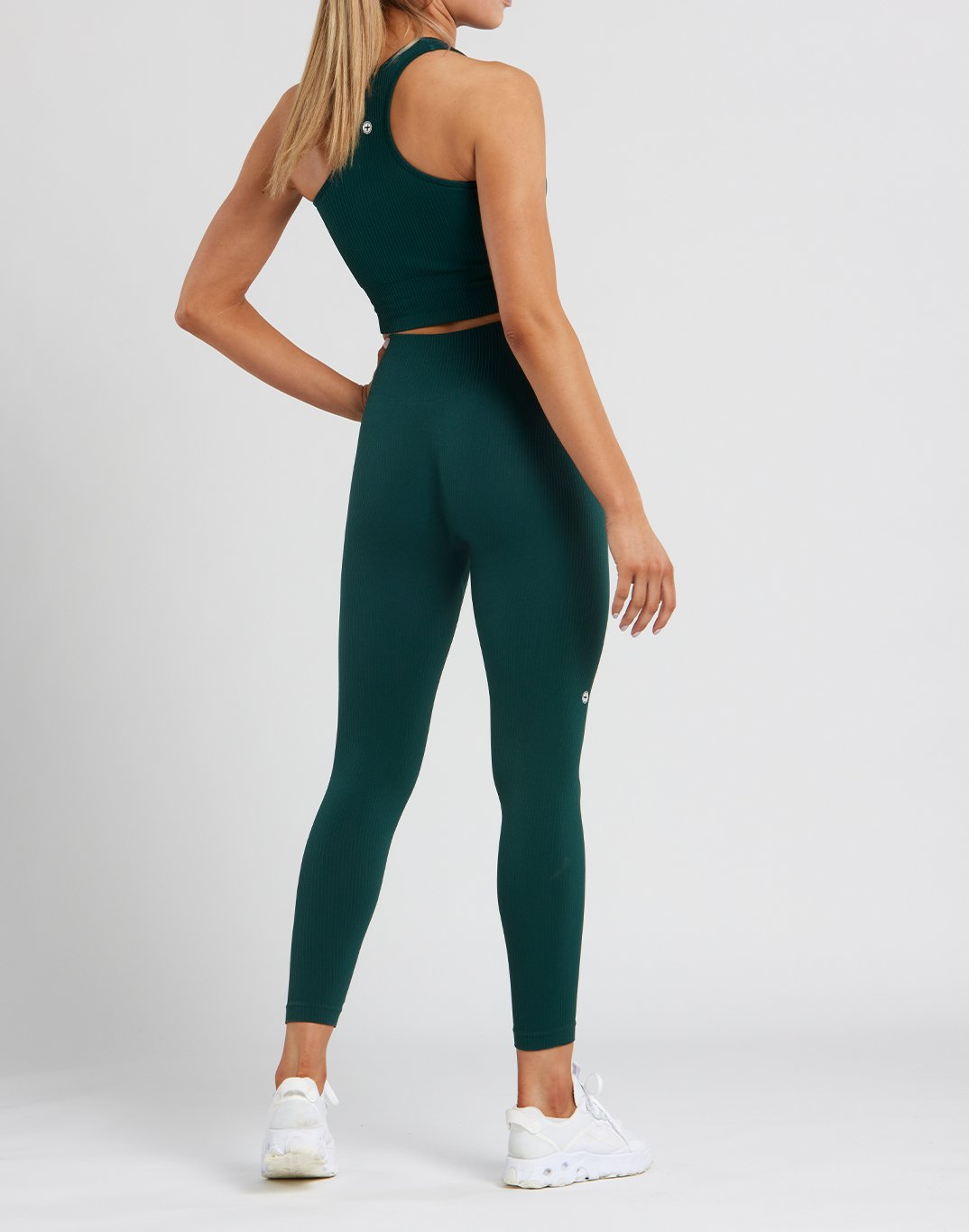 Gym Plus Coffee Leggings Womens Lotus Rib Knit Legging in Wild Green Designed in Ireland