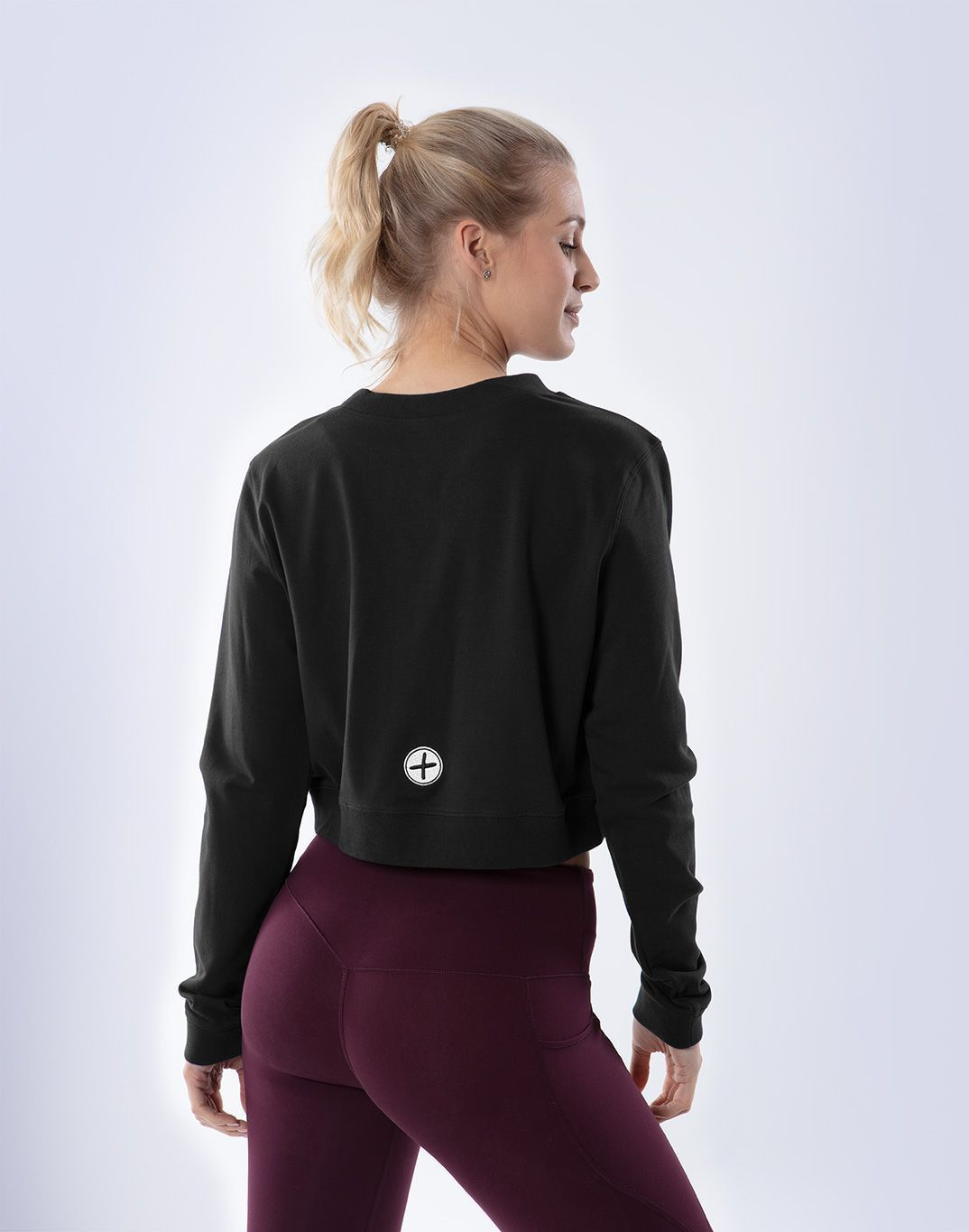 Gym Plus Coffee Long Sleeve Cafe Crop in Black Designed in Ireland