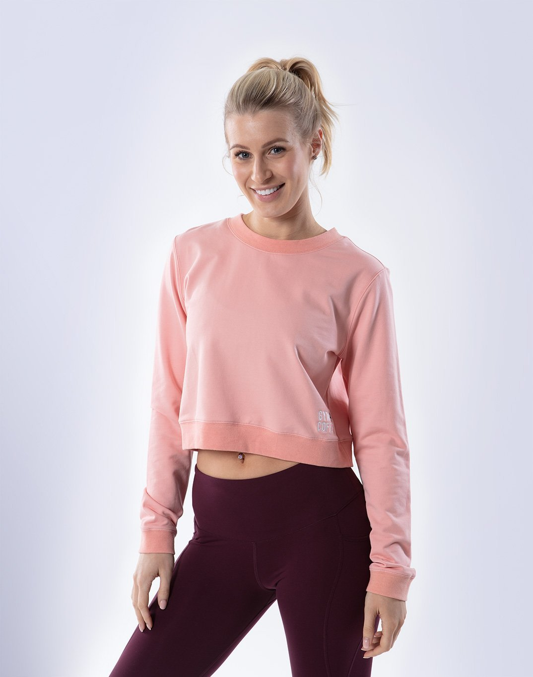 Gym Plus Coffee Long Sleeve Cafe Crop in Rose Pink Designed in Ireland