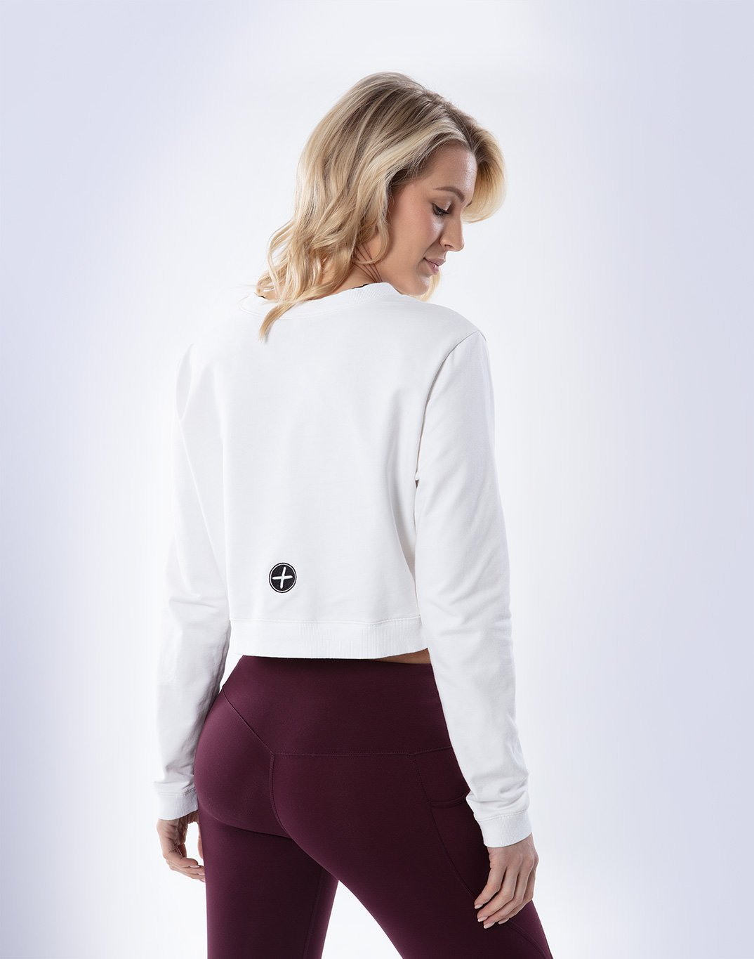 Gym Plus Coffee Long Sleeve Cafe Crop in White Designed in Ireland