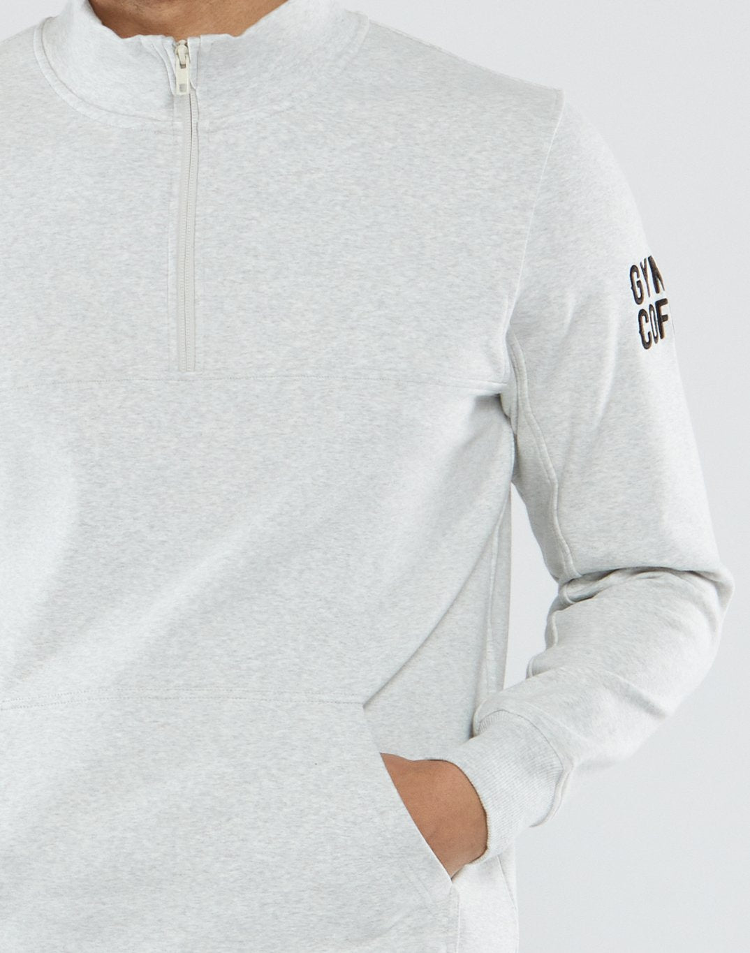 Gym Plus Coffee Long Sleeve Mens Hustle Half-Zip in Marled Cream Designed in Ireland
