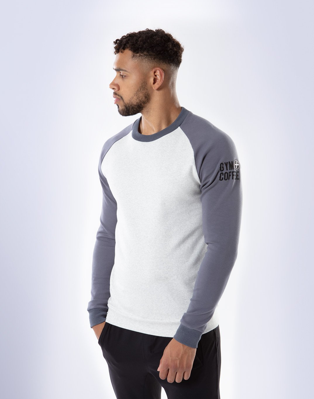 Gym Plus Coffee Long Sleeve Raglan 2Tone UniCrew in Cream/Stone Blue Designed in Ireland