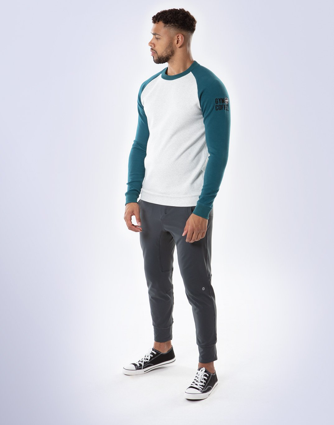 Gym Plus Coffee Long Sleeve Raglan 2Tone UniCrew in Cream/Teal Designed in Ireland