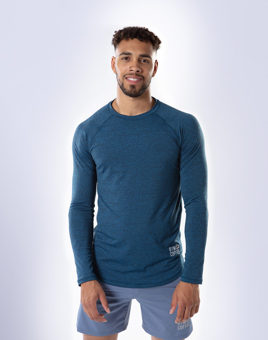 Gym Plus Coffee Long Sleeve Raglan Tech Long Sleeve in Navy Designed in Ireland