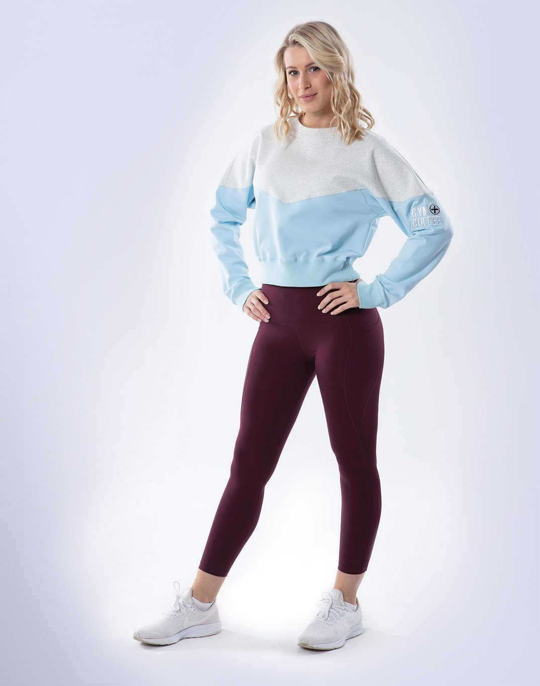 Gym Plus Coffee Long Sleeve Relax Crew in Cream/Baby Blue Designed in Ireland
