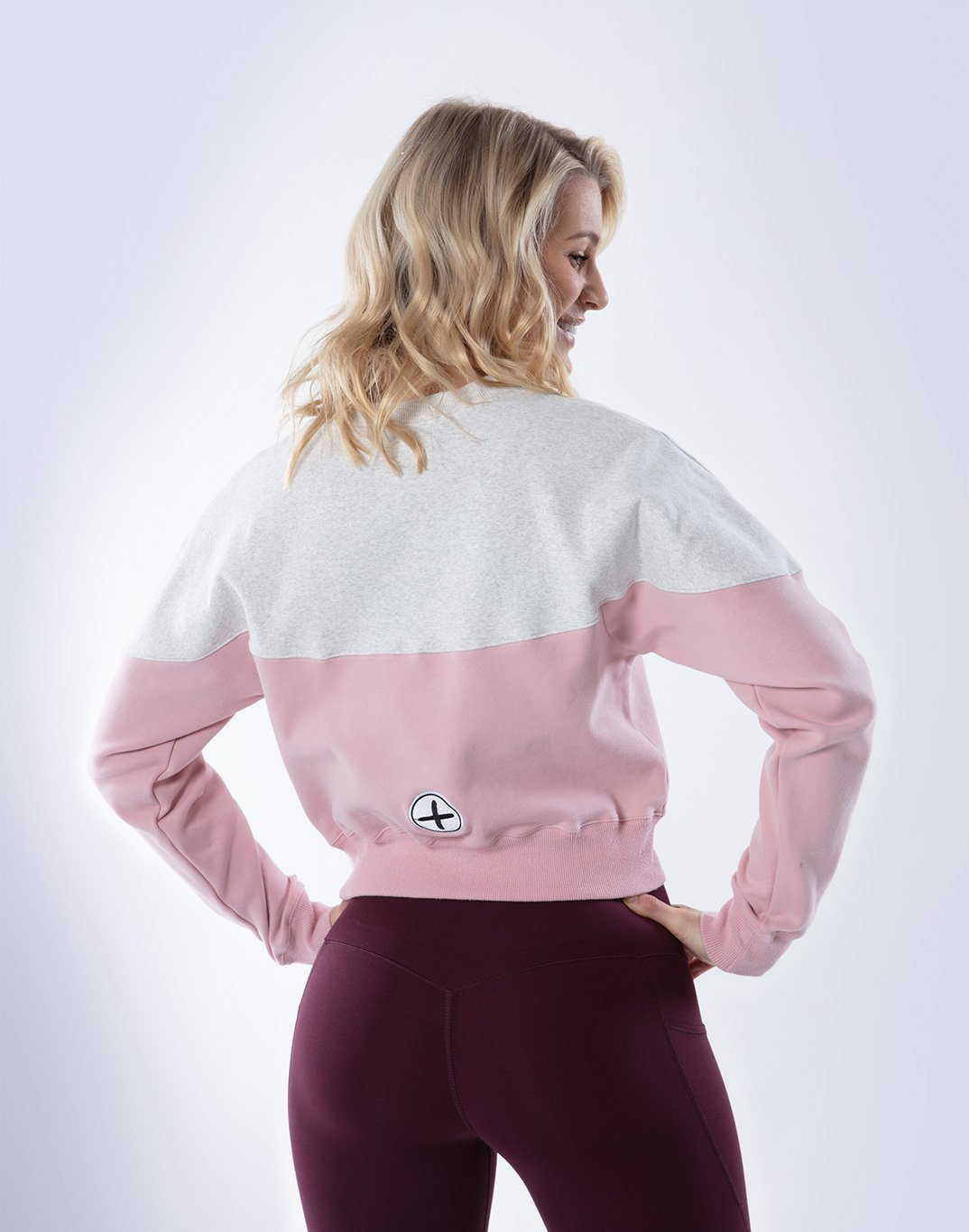 Gym Plus Coffee Long Sleeve Relax Crew in Cream/Dusty Pink Designed in Ireland