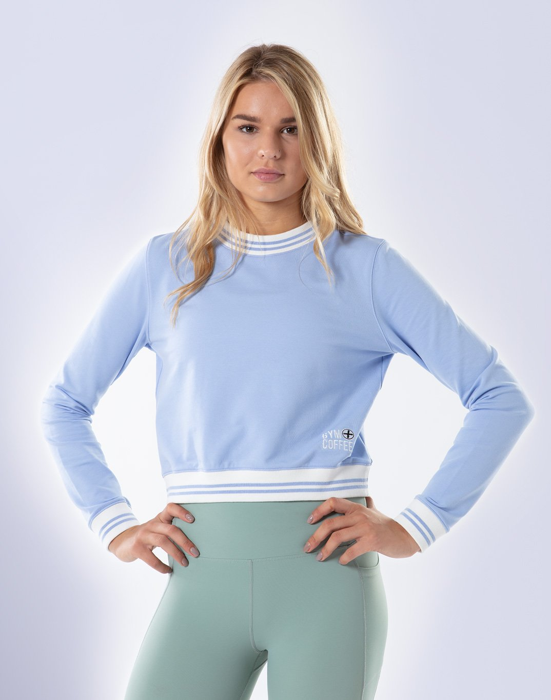 Gym Plus Coffee Long Sleeve Retro Cafe Crop in Lilac Designed in Ireland