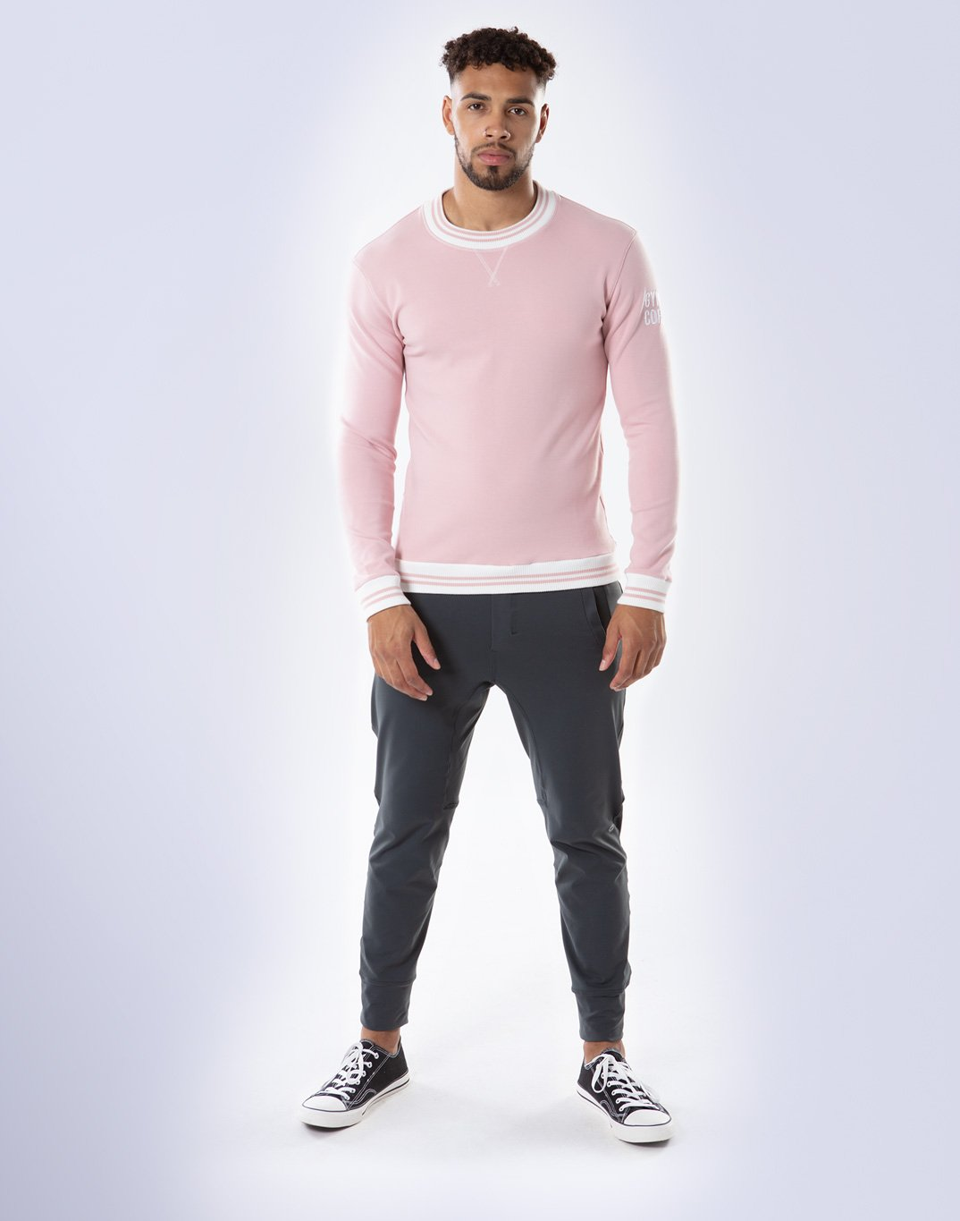 Gym Plus Coffee Long Sleeve Retro UniCrew in Dusty Pink Designed in Ireland