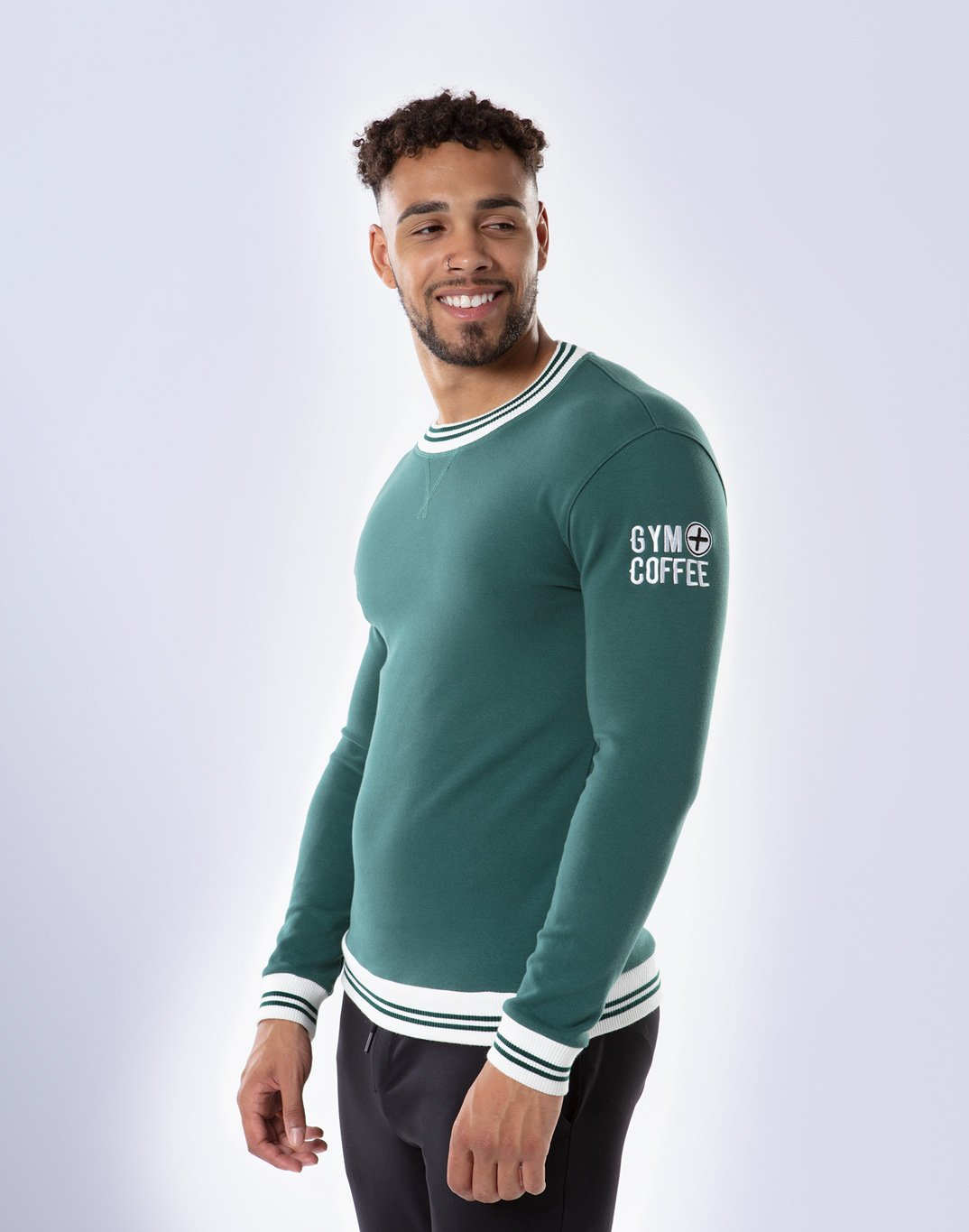 Gym Plus Coffee Long Sleeve Retro UniCrew in Hunter Green Designed in Ireland
