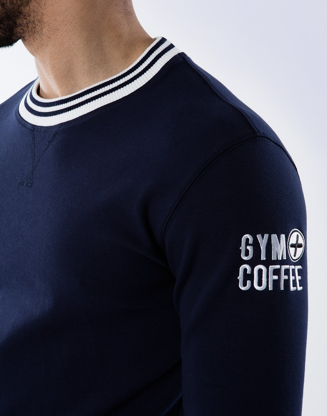 Gym Plus Coffee Long Sleeve Retro UniCrew in Navy Designed in Ireland