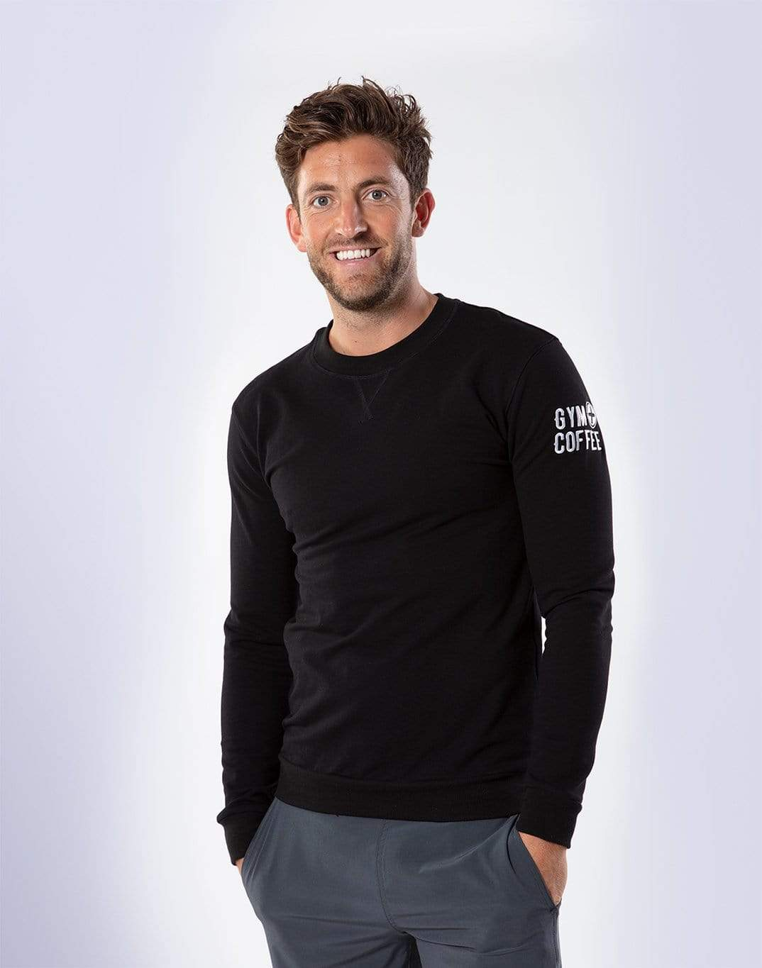 Gym Plus Coffee Long Sleeve Uni Crew in Black Designed in Ireland