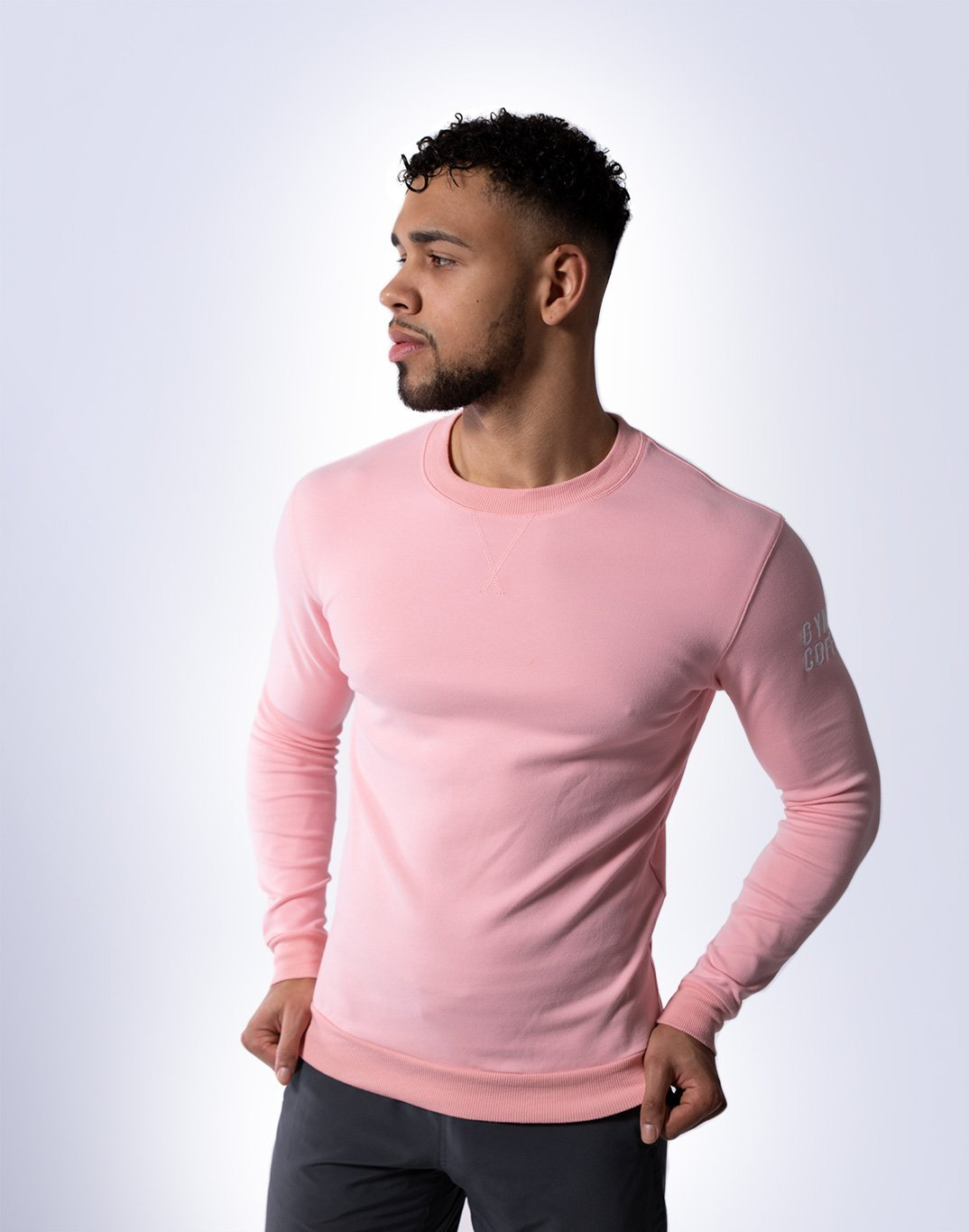 Gym Plus Coffee Long Sleeve UniCrew in Baby Pink Designed in Ireland