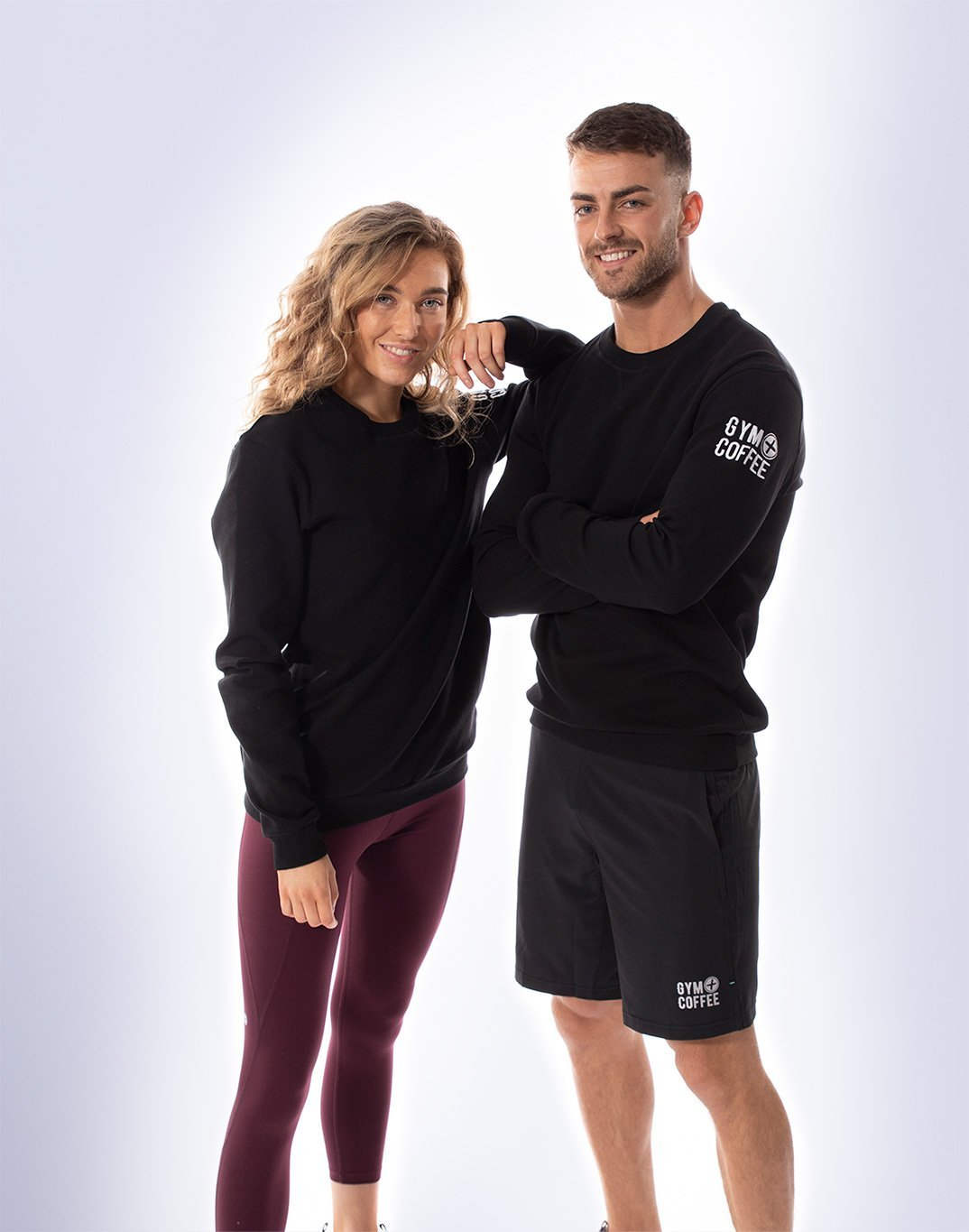 Gym Plus Coffee Long Sleeve UniCrew in Black Designed in Ireland