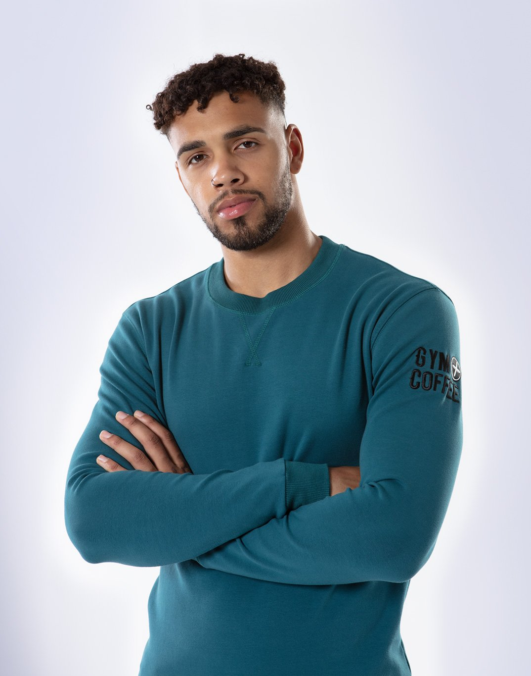 Gym Plus Coffee Long Sleeve UniCrew in Teal Designed in Ireland
