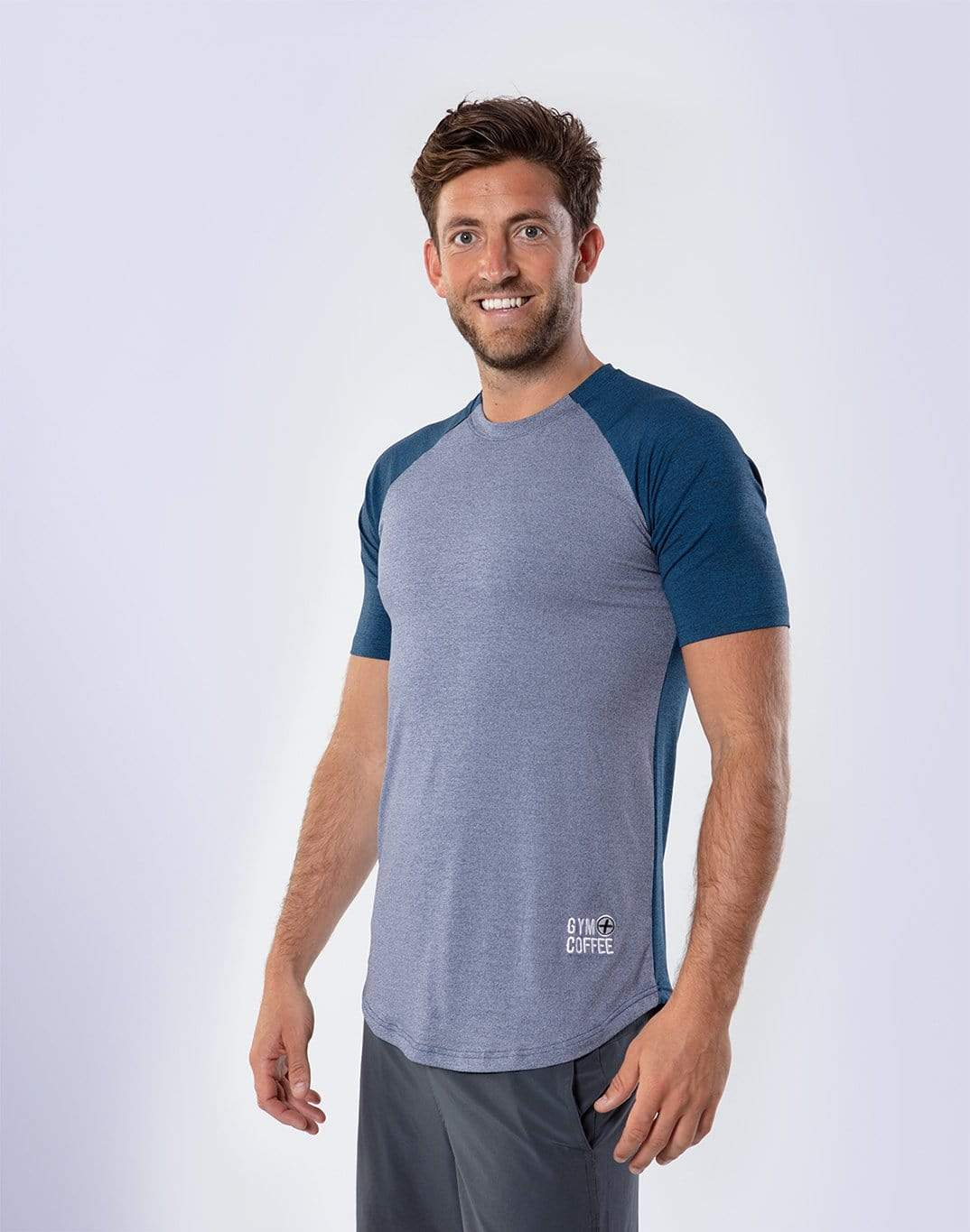 Gym Plus Coffee Men's T-Shirt Raglan 2Tech in Titanium/Navy Designed in Ireland