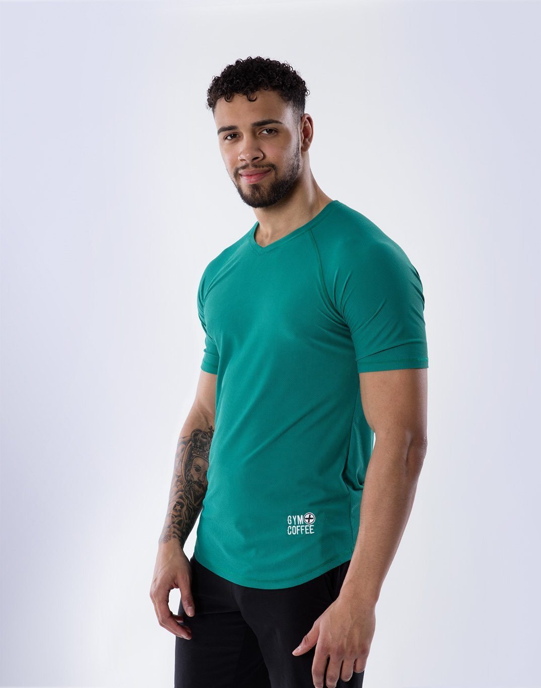 Gym Plus Coffee Men's T-Shirt V-Tech Tee in Green Designed in Ireland